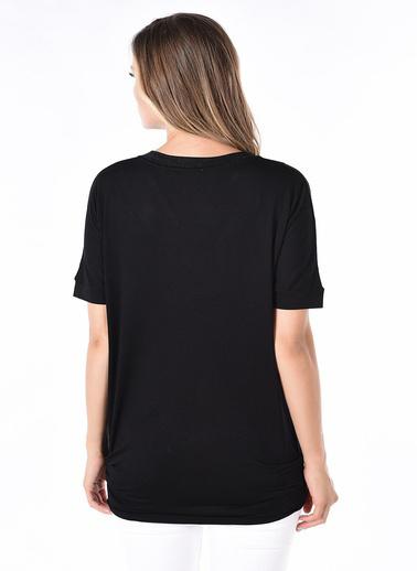 Optique Knitwear Düz V Yaka Standart Boy Yarasa Uzun Kol Penye Bluz Siyah